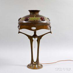 Austrian Art Nouveau-style Bronzed Metal Table Lamp