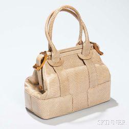 Judith Leiber Beige Lizard Skin Structured Handbag
