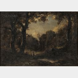 Attributed to Narcisse Virgile Diaz de la Peña (French, 1808-1876)      Landscape with a Figure at the Edge of a Wood