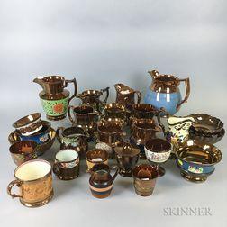 Twenty-five Copper Lustre Ceramic Vessels.     Estimate $20-200