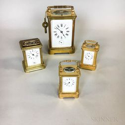 Four Brass and Glass Carriage Clocks