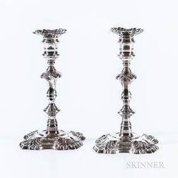 Pair of Sterling Silver Petal-base Candlesticks