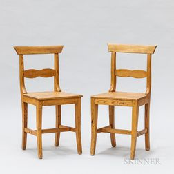 Pair of Swedish Neoclassical Pine Side Chairs