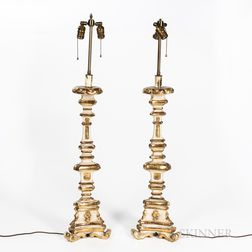 Pair of Candlestick Lamps with Shades