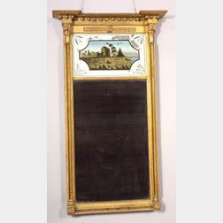 Federal Carved Giltwood and Gesso Mirror with Eglomise Tablet
