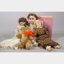 Three German Bisque Dolls, a Bear, and a Doll Book