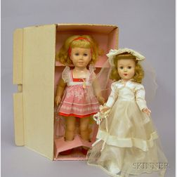 Two Vintage Plastic Dolls in Original Boxes