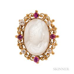 Antique Gold and Moonstone Cameo Brooch