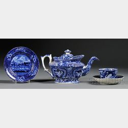 Four Blue and White Transfer-decorated Staffordshire Pottery Items