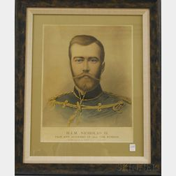 Framed Chromolithograph of Emperor Nicholas II