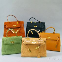 Five Birkin-style Leather and Suede Handbags