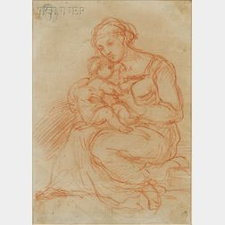 Attributed to Egisto Rossi (Italian, c. 1824-1899)      Seated Mother and Child