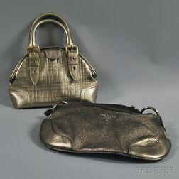 Two Metallic Gold Leather Designer Handbags