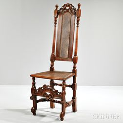 Jacobean Revival Walnut Side Chair