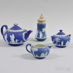 Four Wedgwood Dark Blue Jasper Items