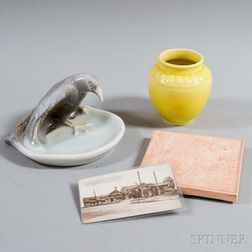 Rookwood Pottery Trivet, Vase, Bird Dish, and Postcard