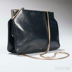 Judith Leiber Black Leather Evening Bag