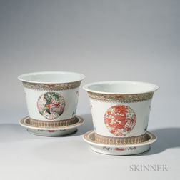 Pair of Enameled Porcelain Planters and Trays