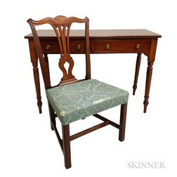 Chippendale Mahogany Side Chair and a Victorian Two-drawer Server