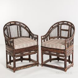 Pair of Horseshoe-back Lacquered Bamboo Armchairs