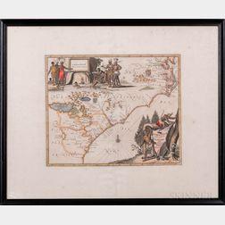 North America, East Coast, Virginia to Northern Florida. John Ogilby (1600-1676) Virginiae Partis Australis et Floridae Partis Oriental