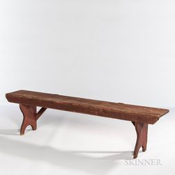Red-painted Pine Bench
