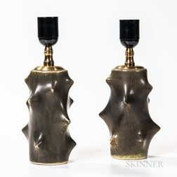 "Pair of Knud Basse (1916-1991) for Michael Andersen & Son ""Rose Thorn"" Table Lamps"