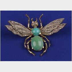 Turquoise and Diamond Insect Brooch