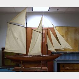 Wooden Two-Masted Sailing Ship Model
