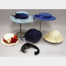 Five Vintage Brimmed Hats and a Black Feathered Headband