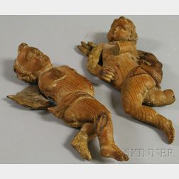 Pair of Continental Carved Wood Angel Figural Wall Ornaments