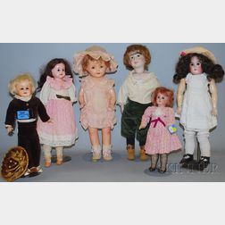 Three Bisque, One Metal Shoulder Head, and Two Composition Dolls