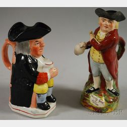 Two Large Staffordshire Toby Jugs
