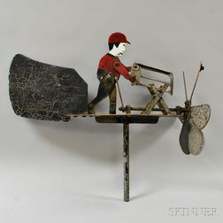 Painted Metal Whirligig of Man Sawing Wood