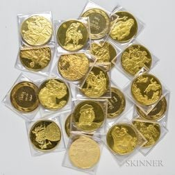 Twenty Franklin Mint Masterpieces of Raphael Gold-plated Sterling Rounds.