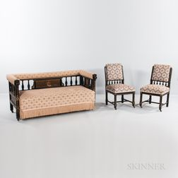 "Kimbel & Cabus ""Modern Gothic"" Ebonized Wood and Marquetry Sofa and Two Side Chairs"