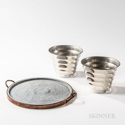 "Two Svenskt Tenn ""Pot Wavy"" Pewter Pots and a Copper-clad Handled Stoneware Tray"
