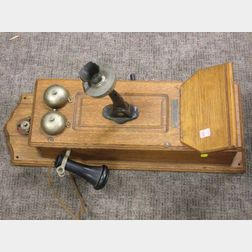 Standard Telephone and Electric Co. Oak Wall Mounted Magneto Telephone