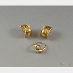 Pair of 18kt Gold Greek Key Decorated Half-hoop Earrings and a 14kt Gold and Opal Bypass Ring.