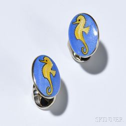 Pair of Oval Seahorse Cuff Links, Deakin & Francis, sterling silver with yellow enamel seahorses on a blue ground, signed.