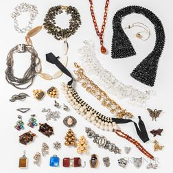 Group of Costume Jewelry and Three Traveling Clocks