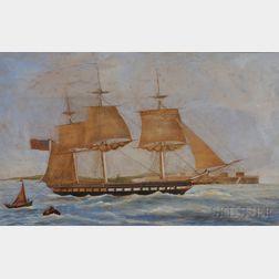 Maltese School, 19th Century      U.S. frigate Constitution   coming into Malta.