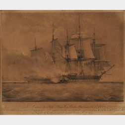 After John Christian Schetky (Scottish, 1778-1874) This representation of the H.M.S Shannoncarrying by boarding the American Frigate Ch