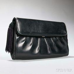 Judith Leiber Black Leather Clutch