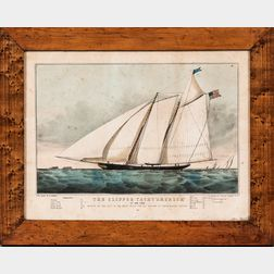 Two Currier & Ives Lithographs Clipper Yacht America   and Clipper Ship Great Republic