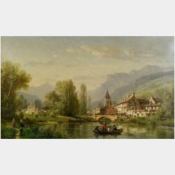 Charles Euphrasie Kuwasseg (French, 1833-1904)  Afternoon on the River/An Animated Town View