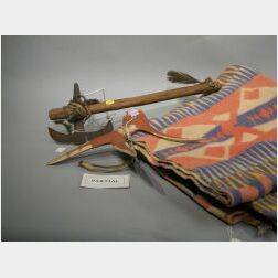 Painted Antler Weapon, Trade Blanket, a Western Basket, and an Iron and Wood Club.