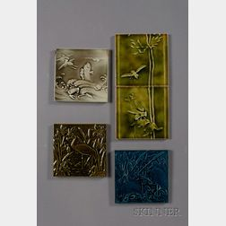 Five Decorated Tiles: Various Makers