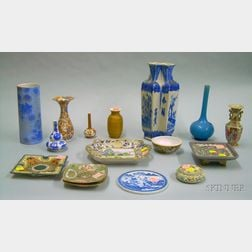 Sixteen Pieces of Mostly Asian Export Porcelain Table Articles