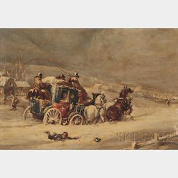 Attributed to Charles Cooper Henderson (British, 1803-1877)      Royal Mail Coach in Deep Snow